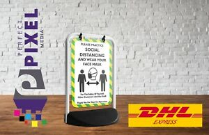 Green NO MASK NO ENTRY Social Distancing Pavement A Board Sign