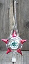Vintage Christmas Decoration – Plastic Star Tree topper – Silver Red & Green