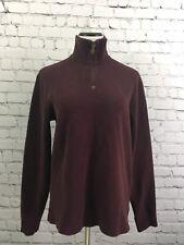 Polo Ralph Lauren Womens Sweatshirt Cotton Burgundy Long Sleeve 3/4 zip M