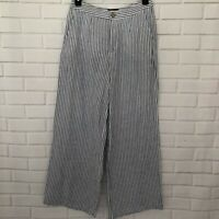 TAHARI Womens 100% Linen Pants 8 Blue White Stripe Pockets Zip Up Wide Leg Beach