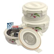 3pc Hot&Lock Pot Insulated Food Warmer, Perfect Locking with silicon Rubbert gas