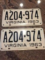 1963 Virginia Pair License Tags Plates. #A204-974 Va