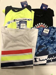 Lot Of 4 Champion Boys Short Sleeve Shirts Size 7/8 Brand New