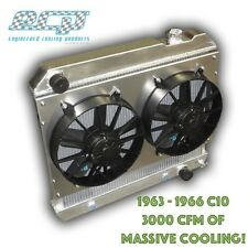 The BEST 1963 - 1966 Chevy C10 Truck Aluminum Radiator 3000 CFM MASSIVE COOLING!