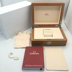 Omega Genuine Watch box case Wooden box Instructions Pouch Card case B0617040