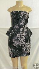 NWT H&M WOMEN BLACK & GRAY FLORAL MULTI STRAPLESS PEPLUM DRESS SIZE 12