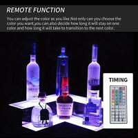Corner Liquor Bottle Display Shelf 20'' 2 Layer LED Lighted Color Changing w/RC