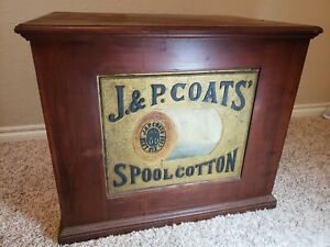 Large Antique J & P Coats 6 drawer Thread Spool Cabinet w/ Advertising