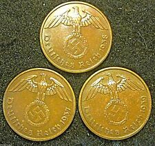 Germany  German 3rd Reich 1937A 1938A and 1939A 2 Reichspfennig Coin Collection