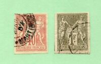 French Colonies - Sc# 27 (thin) + 29 Used / Imperfs  -  Lot 1219543