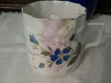 Vintage  Porcelain Hand Painted , blue & gold color floral Mustache Cup Mug