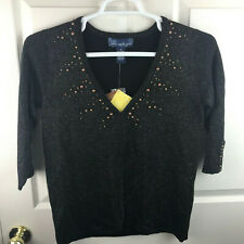New NWT Women's Susan Graver Style Beaded Glitter Sweater Brown Size XS