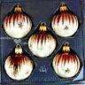 5er Christbaumschmuck Set 6 cm Kugeln Eislack Gold Bordeaux Lauscha handbemalt
