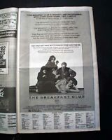 Best THE BREAKFAST CLUB Brat Pack Cult Movie Opening Day AD 1985 L.A. Newspaper