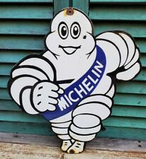 New ListingVintage Large Old Michelin Man Tire Ad Porcelain Pump Sign 1950's Gas Oil Italy