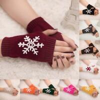 Unisex Women Ladies Fingerless Gloves Warm Gloves Knitted Winter Warm Mittens US