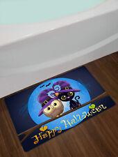 Happy Halloween Owl Black Cat Witch Non-slip Rug Floor Door Carpet Bathroom Mat