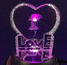 Kristall Herz (LOVE), Leuchte Sockel, Rose, Liebe, Liebesgeschenk