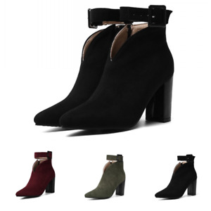 Womens Ankle Buckle Boots Suede Block High Heels Pointed Shoes Zip Autumn Winter