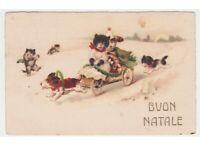 1924 Gatos Y Perros Humanizado Tarjeta Postal Antigua Baby Buon Navidad Pittius