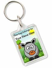 Personalised Kids Childs School Bag Tag Animal Keyring With Donkey AK83