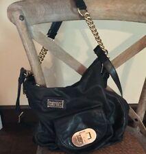 Wow!! RARE! BADGLEY MISCHKA Black Leather Turn Latch Handbag Purse