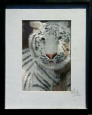 White Tiger - Silk Embroidery Art - Signed By. Embroidery Wonders Artist