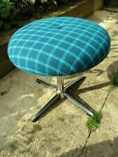 Fab Vintage Retro Teal Blue Green Chrome Swivel Bar Kitchen Dressing Table Stool