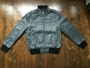 Vintage Men's Sir Benni Miles Grey Leather Bomber Jacket Size Large
