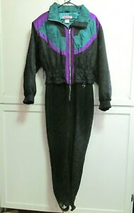 Vintage Obermeyer Mixed Media Ski Suit -Black Green -Stretch Stirrup - Women's L