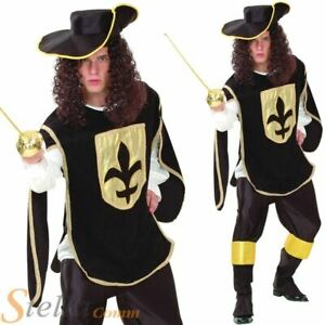 Mens Black Musketeer French Medieval Knight Fancy Dress Costume With Moustache