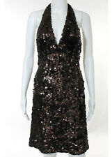 Mikael Aghal Dark Brown Sequin Detail Halter Dress Size 8