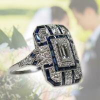 6-10 Edle Silber Weißer Topas & Blauer Saphir Ring Braut Frauen S Nett Hoch L3T3