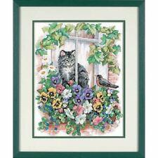 SPRINGTIME VIEW DIMENSIONS X STITCH KIT (13133) CAT, WINDOW, FLOWERS