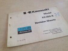 Kawasaki Parts list KX250 A KX 250 révision sheet catalogue liste pièce détachée