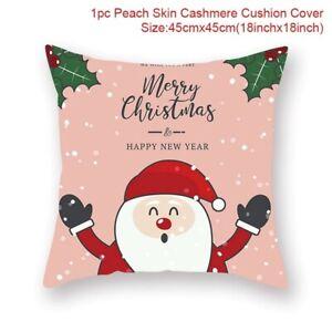 Merry Christmas Cushion Cover Santa Claus Elk Christmas Decoration For Home 2021