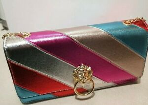 Ladies Party Multi Colour diagonal stripe metallic Clutch Bag. gold chain strap