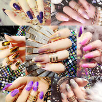 24Pcs Glitter Fake False Nails Art Tips Acrylic Nail Full Cover Manicure Decor