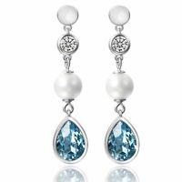 CZ Freshwater Pearl Teardrop Made With Swarovski Crystals Drop Dangle Earrings