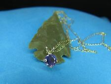"Beautiful Amethyst Necklace 14 K Solid Gold  Genuine Amethyst   18"" Long Chain"