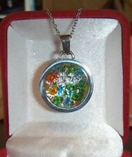 SPRING MURANO GLASS STAINLESS STL,MULTI-COLOR NECKLACE,EARRINGS,& SZ 6 RING,EUC
