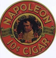Napoleon Cigar  advertising sign window decal  cc 1920's  Powell & Goldstein