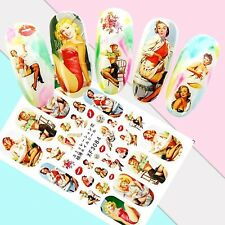 Nail Art Stickers Transfers 3D Self Adhesive Retro Glamour Pinups (XF3084)