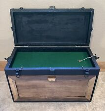 Vintage Oak Wood Machinist Tool Chest Lock & Key Metal Lined Drawers