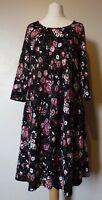 bpc Bonprix Collection 3/4 Sleeve Floral Dress Size 12-14 Uk NEW Black Multi
