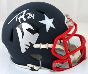 Ty Law Autographed New England Patriots AMP Speed Mini Helmet - Beckett W Auth