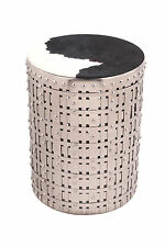 COWGIRL Silver Round Accent Table with Cow Hide Fitted Top