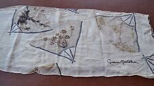 Signed Cynthia MacCollum hand painted Cream Silk Scarf Bamboo Flower Fan design