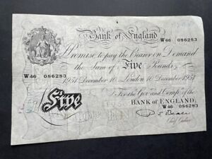 White Fiver - Five Pounds Note. 10th December 1951 - Beale - Great Condition
