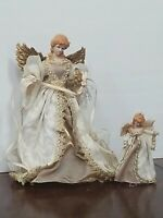 Traditions Beautiful Angel Tree Topper w/ 1 Matching Angel Ornament Ivory & Gold